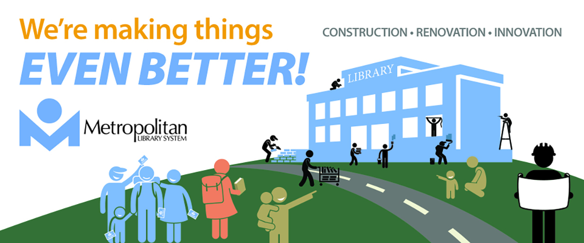 "Library building and people reading ""We're making things event better!"""