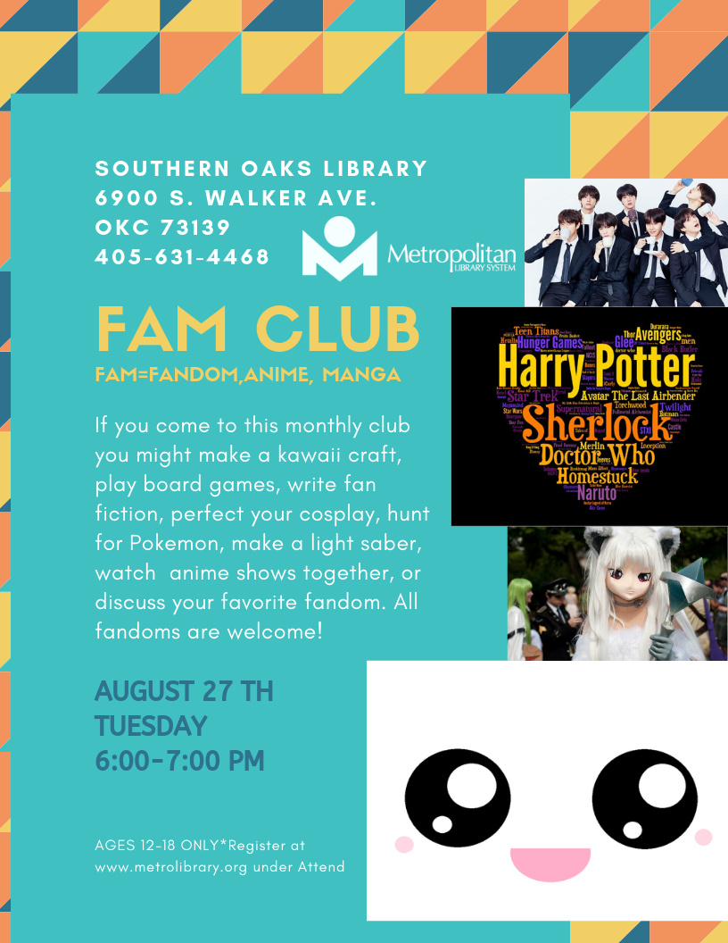 FAM (Fandom Anime and Manga) Club | Metropolitan Library System