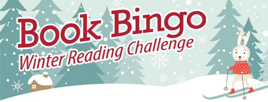 with book bingo words bunny on skis plus a winter cabin scene