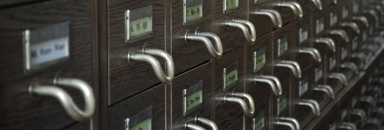 Closeup of card catalog