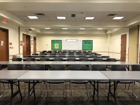 Meeting Room AB with rows of rectangular tables