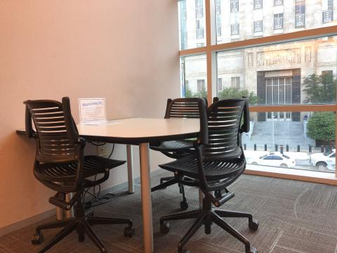 Study Room C at the Downtown Library with a small table and 3 chairs