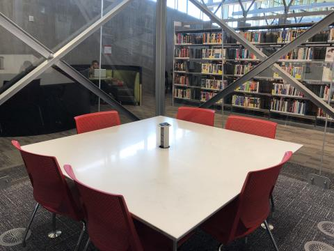 Teen Room at Northwest Library with square table and six chairs