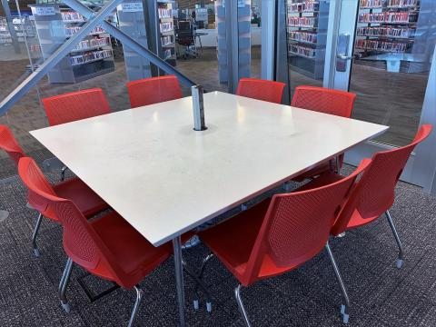Read Room at Northwest Library with square table and eight chairs