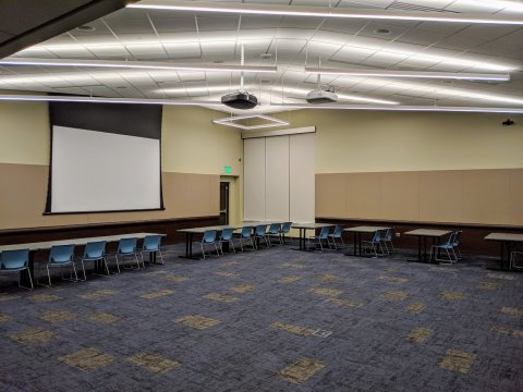 Meeting Room A with partial classroom setup