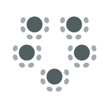 Room setup icon showing a series of round tables with chairs around each table