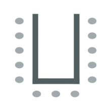 Room setup icon showing chairs arranged in a U-shape with chairs on outside
