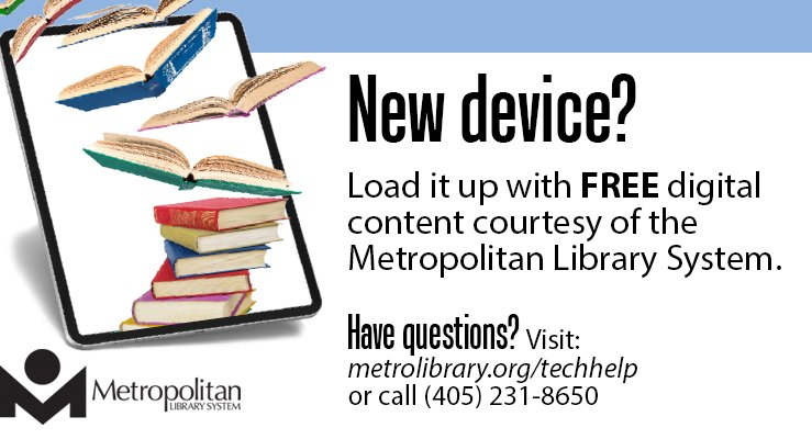 tech help for the holidays get a new device let us help image shows ereader with books flying out of it