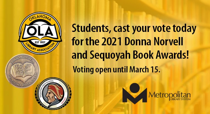 Oklahoma Book Awards Donna Norvell and Sequoyah book award deadline to vote is march 15th