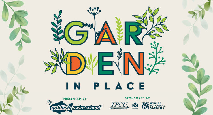 Garden in Place words with leaves plus sponsorships of the program which brings seed kits to your libraries