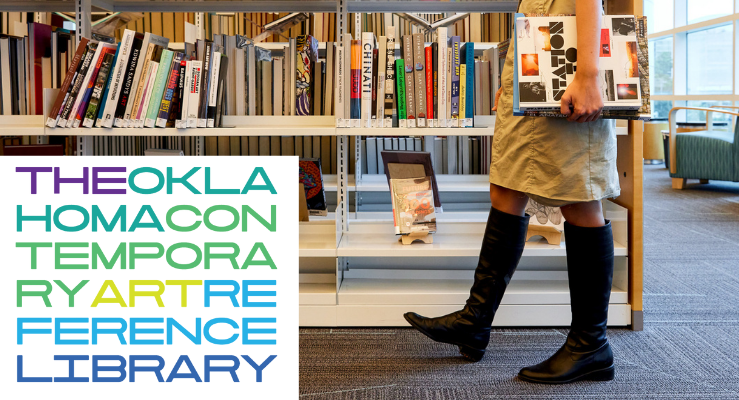 Oklahoma Contemporary Arts Reference Library slider image with a female walking by the library collection holding a book with a logo of the new art collection
